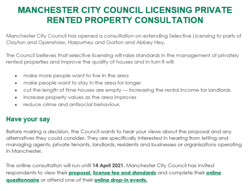 MANCHESTER CITY COUNCIL CONSULTATION ON SELECTIVE LICENSING SCHEME