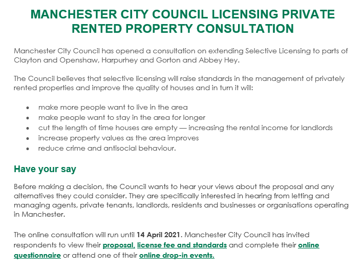 consultation - MANCHESTER CITY COUNCIL CONSULTATION ON SELECTIVE LICENSING SCHEME